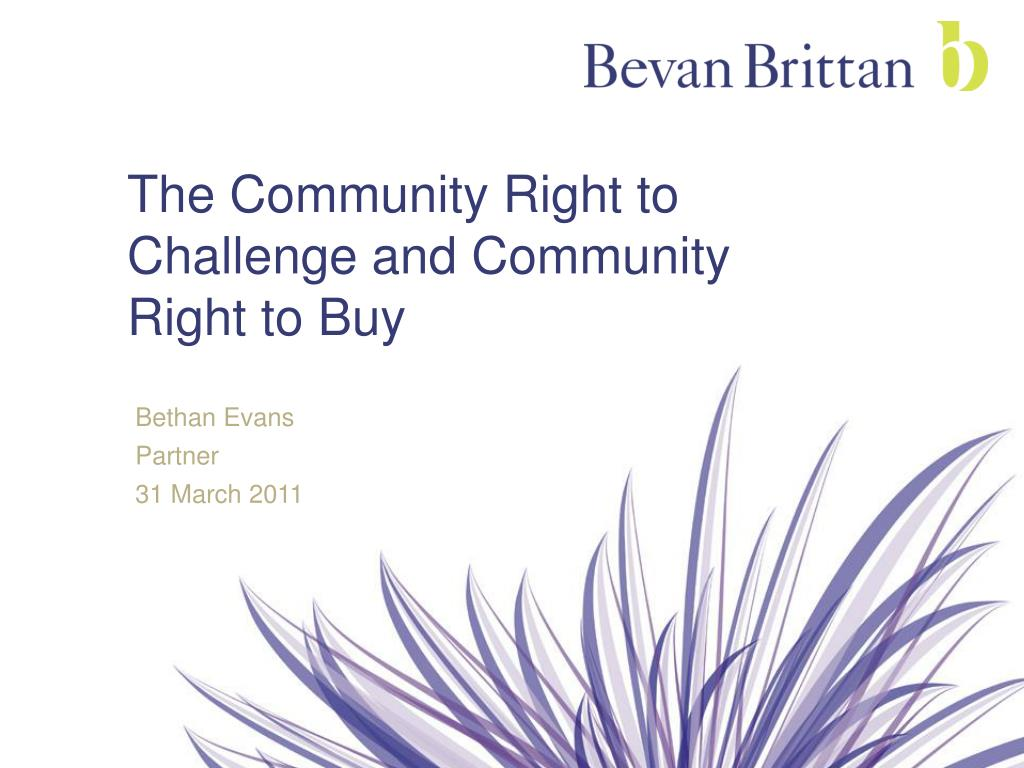 the community right to challenge and community right to buy l.