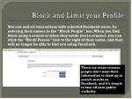 block and limit your profile