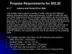 propose requirements for 802 20