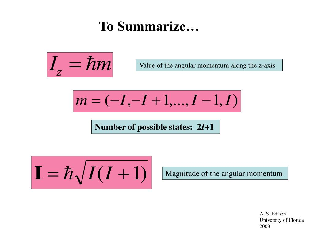 Value of the angular momentum along the z-axis