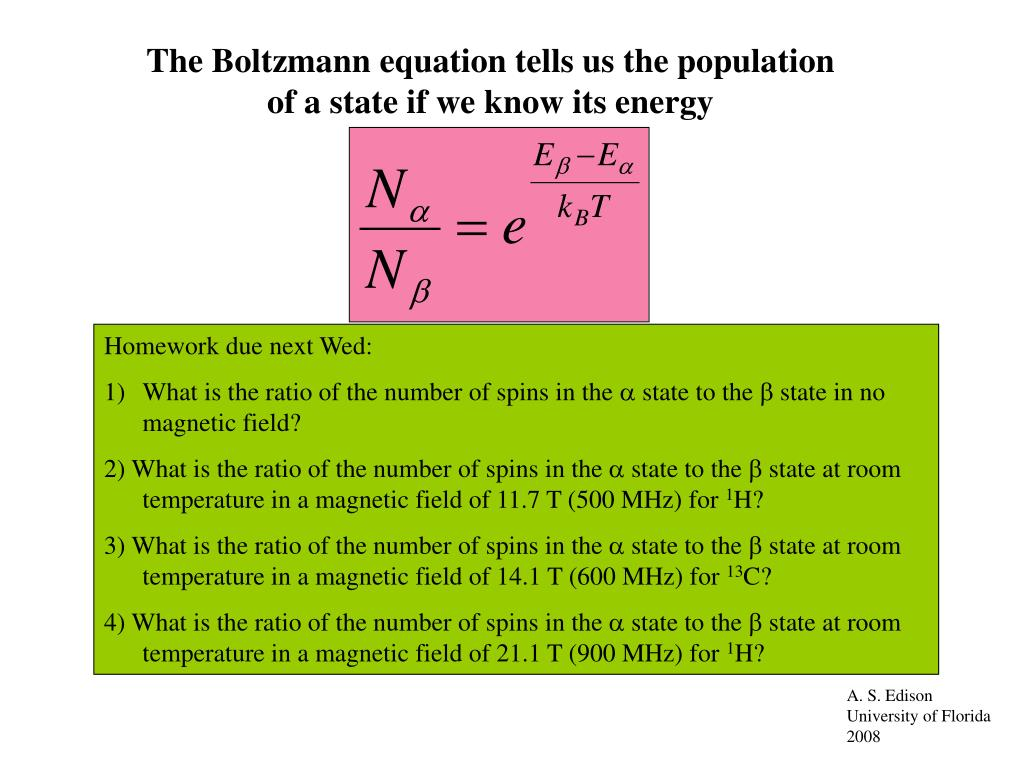 The Boltzmann equation tells us the population of a state if we know its energy