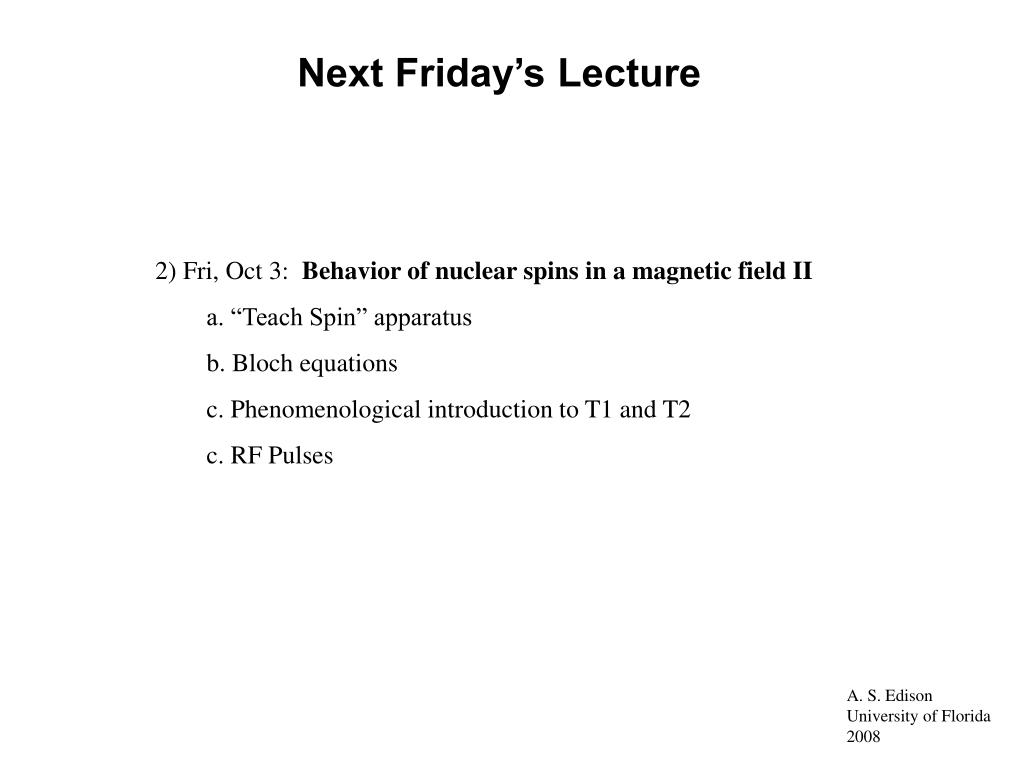 Next Friday's Lecture