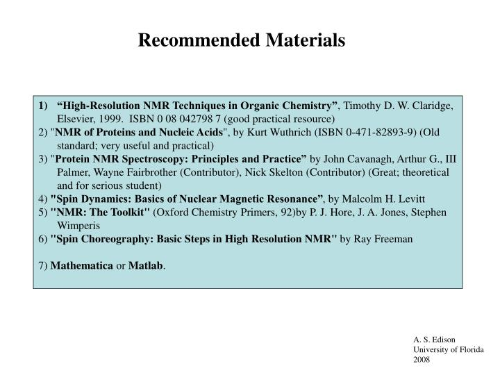 Recommended Materials