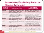 assessment vocabulary based on bloom s taxonomy
