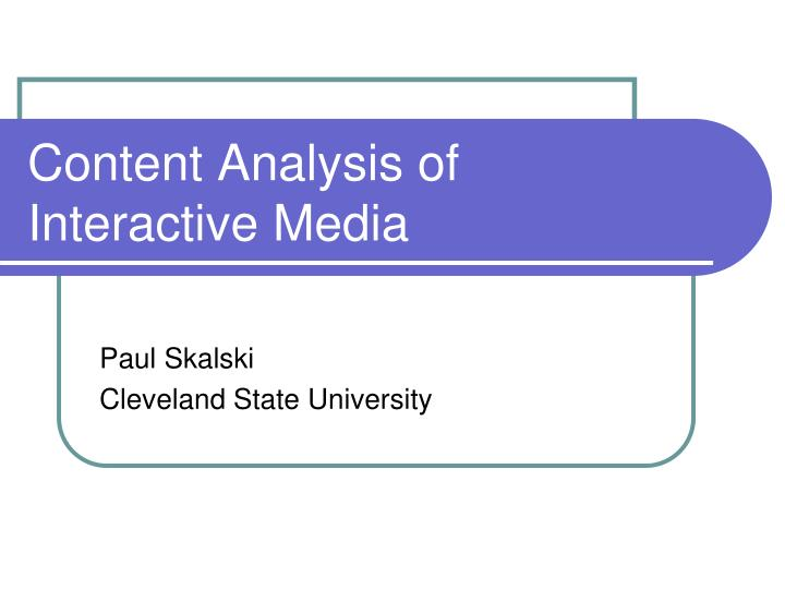 content analysis of interactive media n.