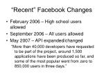 recent facebook changes