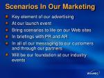 scenarios in our marketing