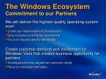 the windows ecosystem commitment to our partners
