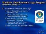 windows vista premium logo program available for holiday 06