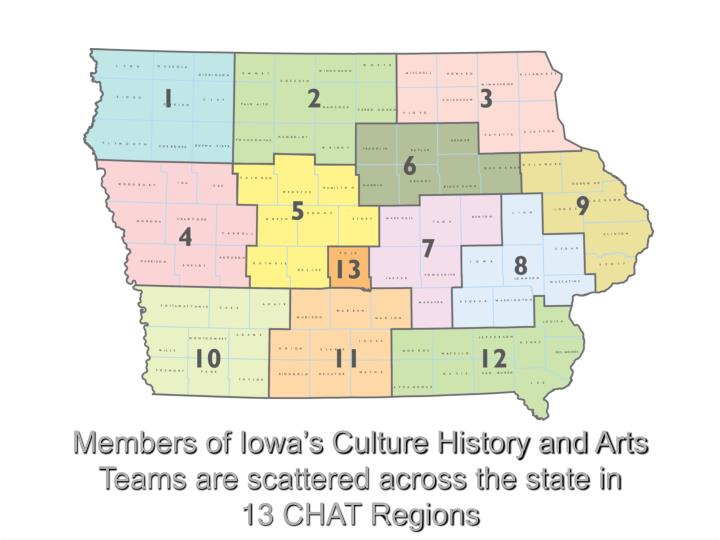 Members of iowa s culture history and arts teams are scattered across the state in 13 chat regions