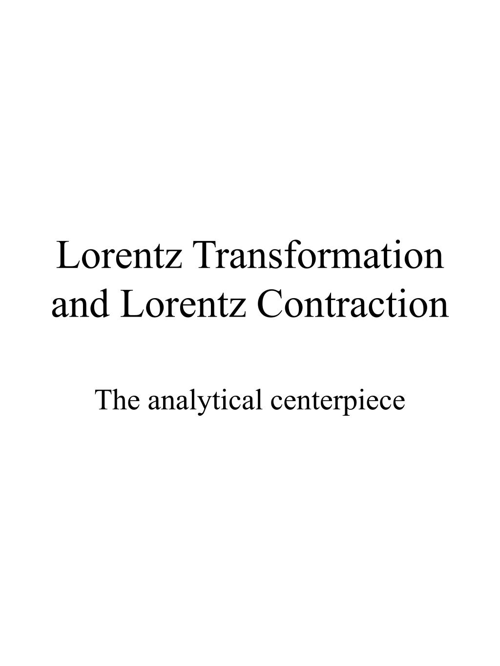 lorentz transformation and lorentz contraction l.