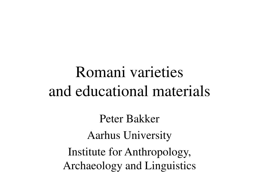 romani varieties and educational materials l.