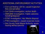 additional enforcement activities