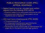 public resource code prc appeal hearings