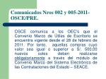 comunicados nros 002 y 005 2011 osce pre