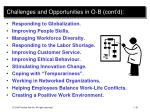challenges and opportunities in o b cont d