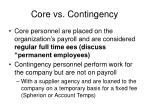 core vs contingency