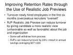 improving retention rates through the use of realistic job previews