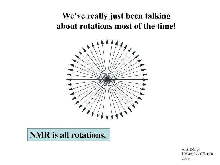 We've really just been talking about rotations most of the time!