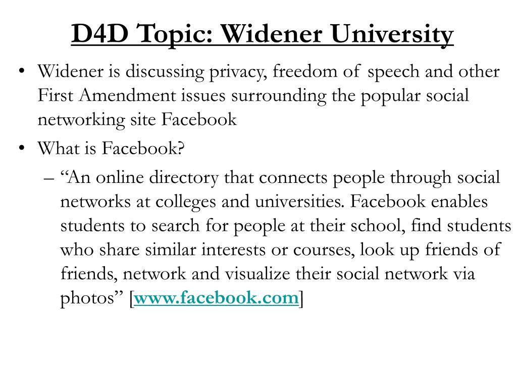 D4D Topic: Widener University