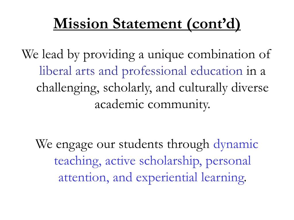Mission Statement (cont'd)