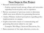 next steps in our project