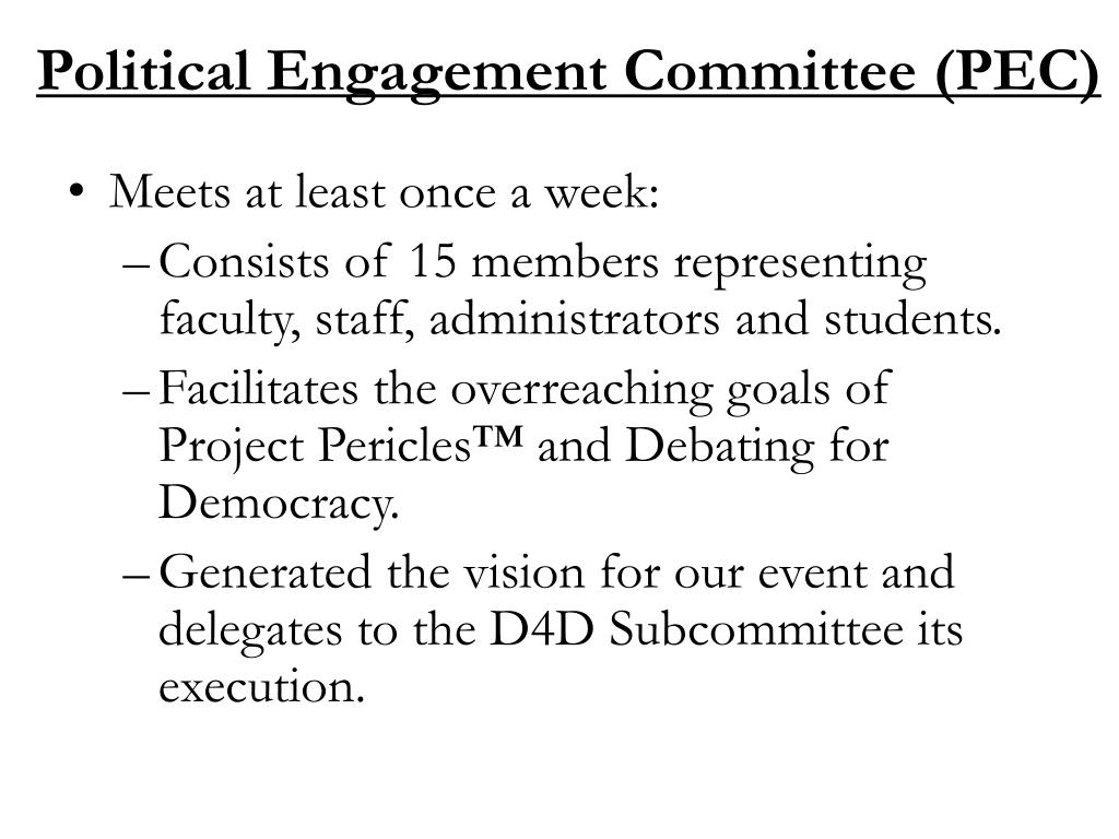Political Engagement Committee (PEC)