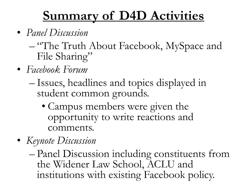 Summary of D4D Activities