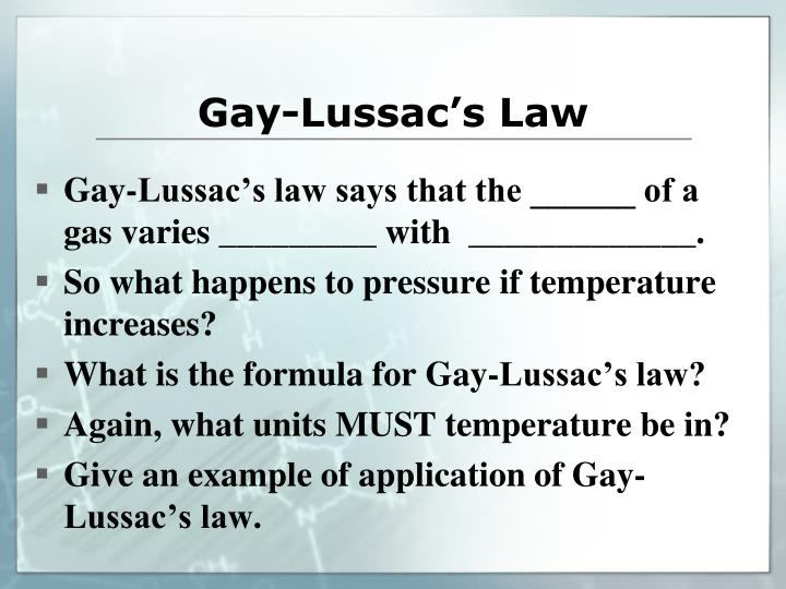 from Brent gay lussacs law formula