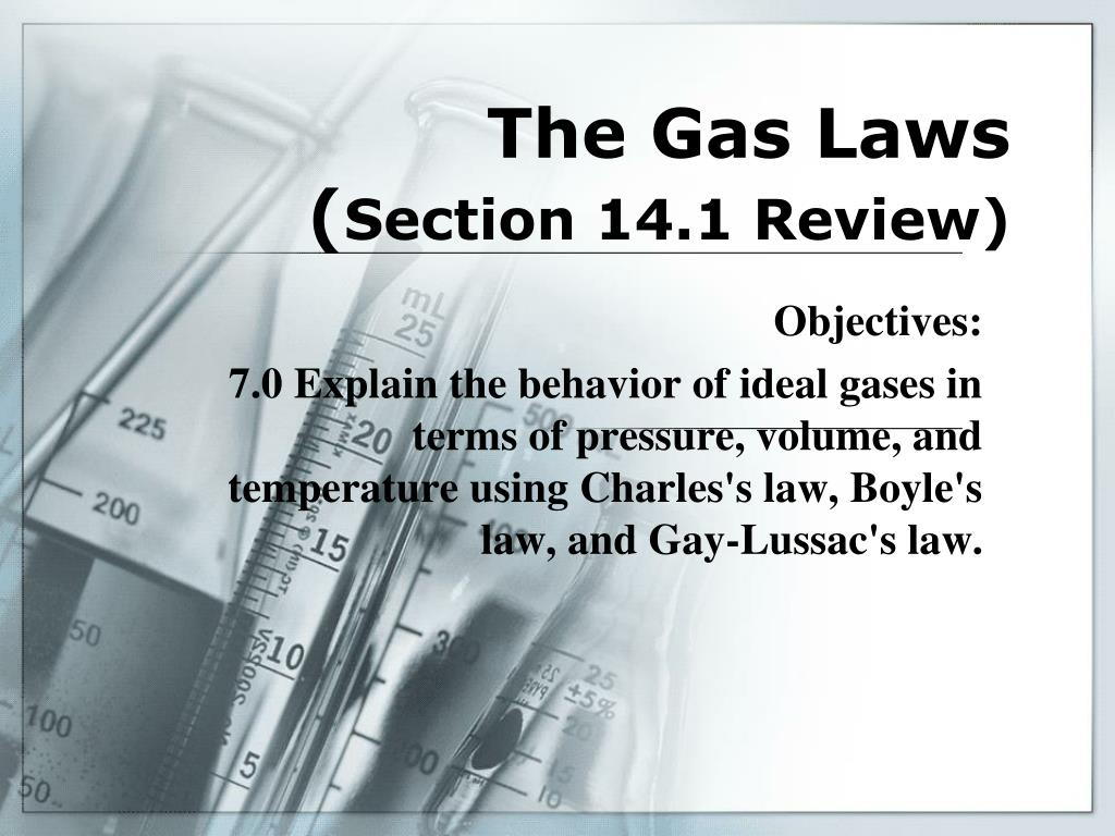 the gas laws section 14 1 review l.