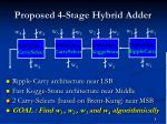 proposed 4 stage hybrid adder