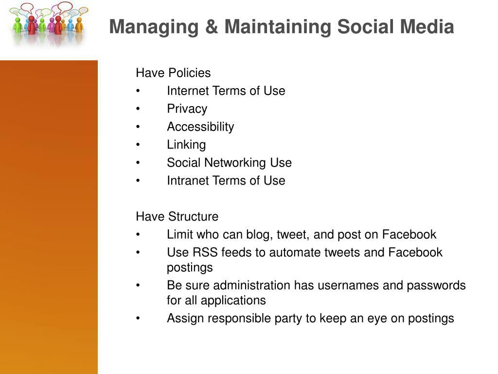 Managing & Maintaining Social Media