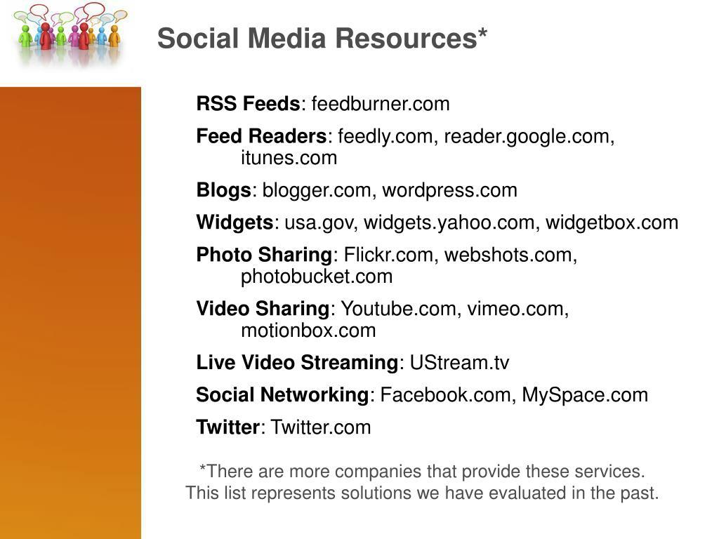 Social Media Resources*