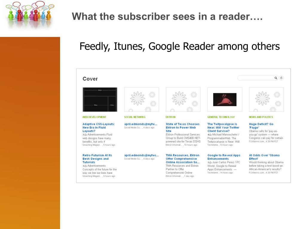 What the subscriber sees in a reader….