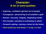 character a list of some qualities