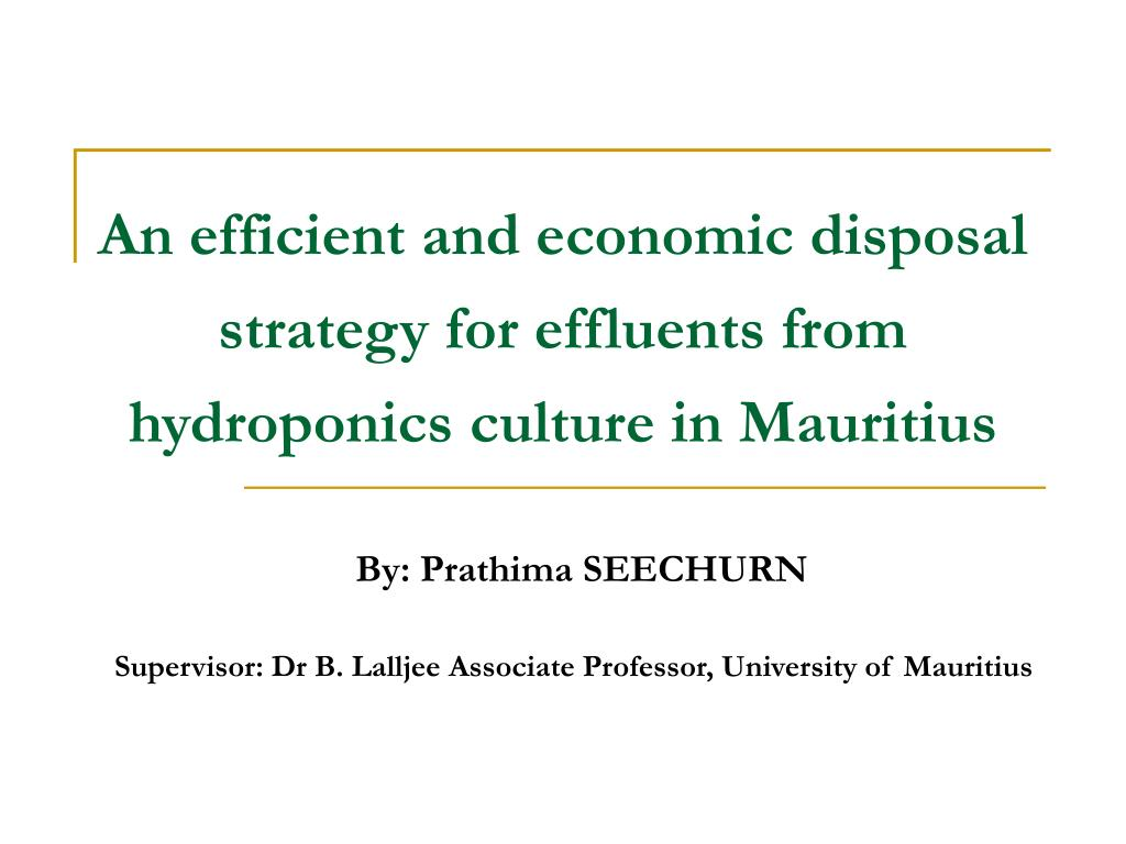 an efficient and economic disposal strategy for effluents from hydroponics culture in mauritius l.