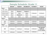 sample schedule grade 11