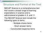structure and format of the test