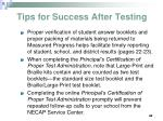 tips for success after testing