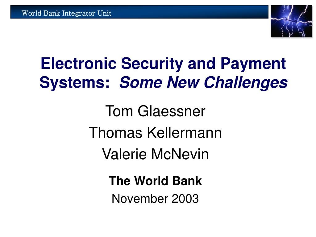 electronic security and payment systems some new challenges l.
