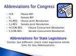 abbreviations for congress