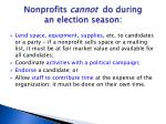 nonprofits cannot do during an election season