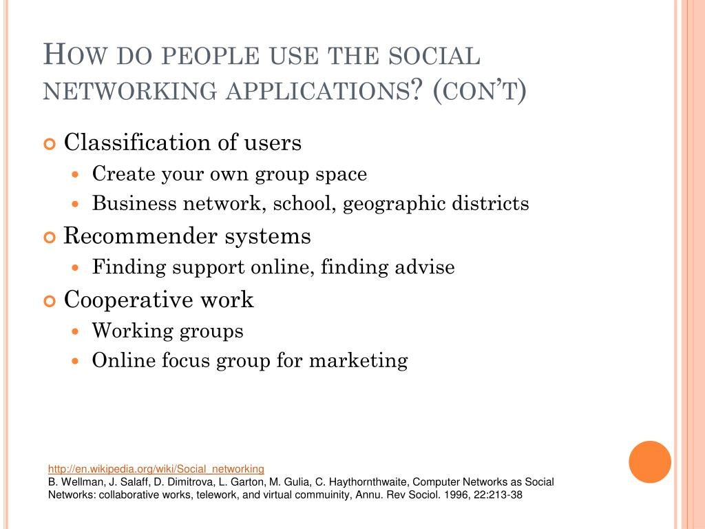 How do people use the social networking applications? (