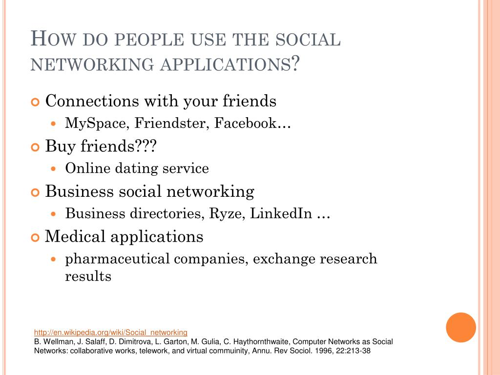 How do people use the social networking applications?