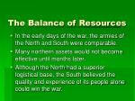 the balance of resources