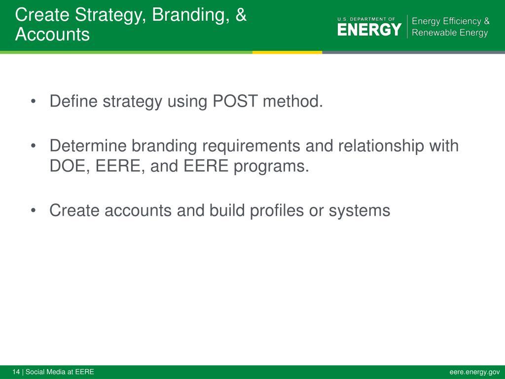 Create Strategy, Branding, & Accounts