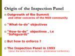origin of the inspection panel
