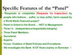 specific features of the panel