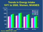 trends in energy intake 1971 to 2000 women nhanes