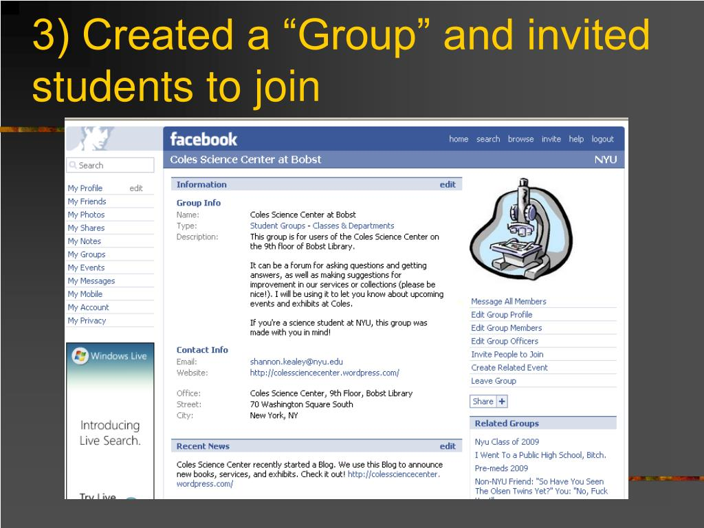"3) Created a ""Group"" and invited students to join"
